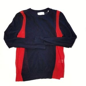 A.L.C. blue red light weight wool knit sweater S